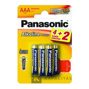 Panasonic Alkaline Power 6 db AAA 1.5V alkáli elem